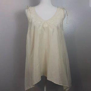 Anthropologie Maeve Sz Medium Silk Embroidered Top